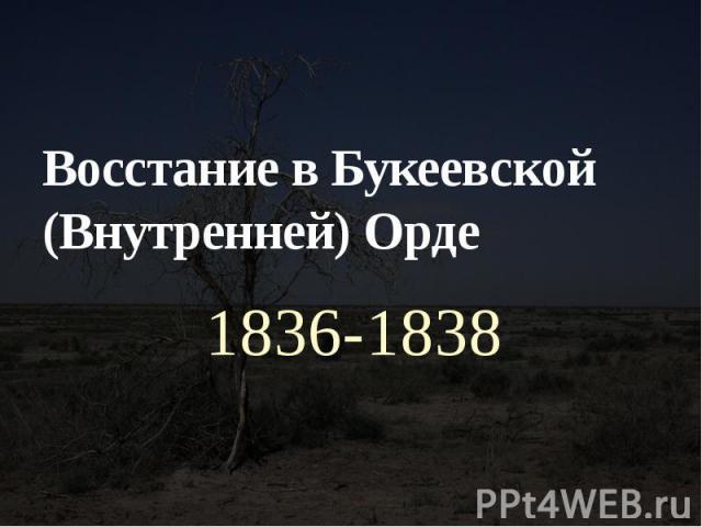 Восстание в Букеевской (Внутренней) Орде 1836-1838