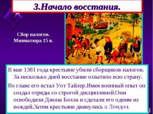 В мае 1381 года крестьяне убили сборщиков налогов. За несколько дней восстание о