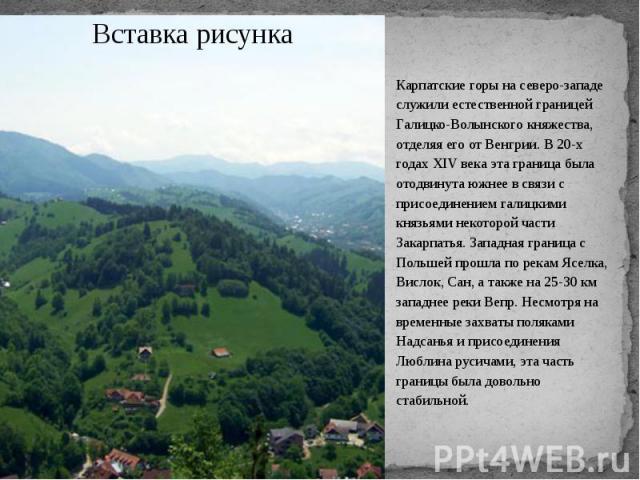 Карпатские горы на северо-западе служили естественной границей Галицко-Волынского княжества, отделяя его от Венгрии. В 20-х годах XIV века эта граница была отодвинута южнее в связи с присоединением галицкими князьями некоторой части Закарпатья. Запа…