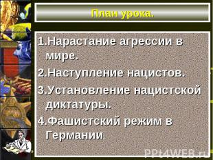 1.Нарастание агрессии в мире. 1.Нарастание агрессии в мире. 2.Наступление нацист