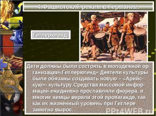 Дети должны были состоять в молодежной ор-ганизации«Гитлерюгенд».Деятели культур