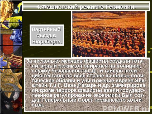 За несколько месяцев фашисты создали тота-литарный режим,он опирался на полицию, службу безопасности(СД), и тайную поли-цию(гестапо).по всей стране начались поли-тические облавы и уничтожение евреев.Эйн- штейн,Т.и Г. Манн,Ремарк и др. эммигрирова ли…