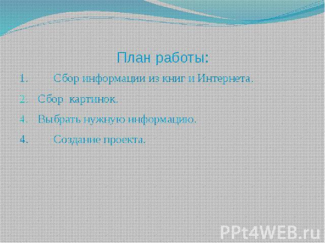 План работы: 1. Сбор информации из книг и Интернета. Сбор картинок. Выбрать нужную информацию. 4. Создание проекта.