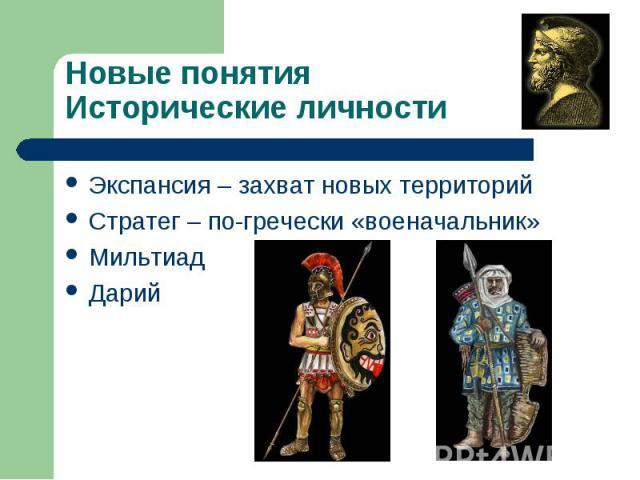 Экспансия – захват новых территорий Экспансия – захват новых территорий Стратег – по-гречески «военачальник» Мильтиад Дарий