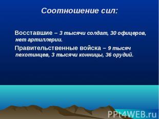 Восставшие – 3 тысячи солдат, 30 офицеров, нет артиллерии. Восставшие – 3 тысячи