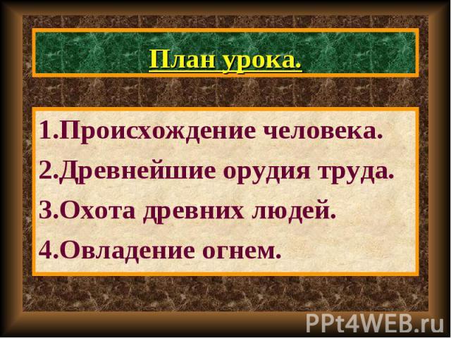 1.Происхождение человека. 1.Происхождение человека. 2.Древнейшие орудия труда. 3.Охота древних людей. 4.Овладение огнем.