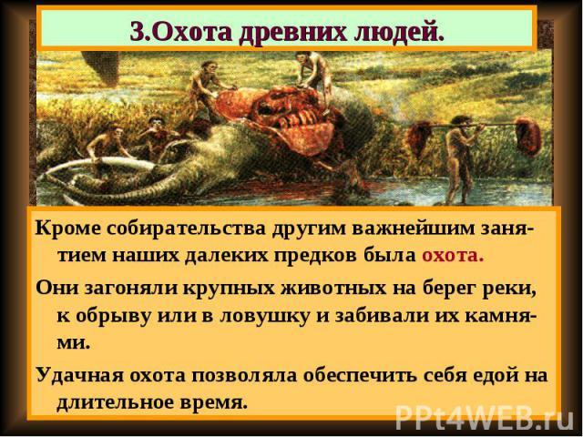 Кроме собирательства другим важнейшим заня-тием наших далеких предков была охота. Кроме собирательства другим важнейшим заня-тием наших далеких предков была охота. Они загоняли крупных животных на берег реки, к обрыву или в ловушку и забивали их кам…
