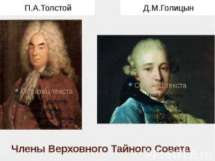 Члены Верховного Тайного Совета П.А.Толстой