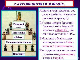 Христианская церковь, соз-дала стройную организа-ционную структуру. Христианская