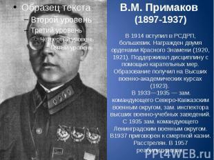 В.М. Примаков (1897-1937) В 1914 вступил в РСДРП, большевик. Награжден двумя орд