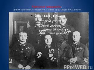 Красные маршалы: 1ряд: М. Тухачевский, К. Ворошилов, А. Егоров, 2 ряд: С.Будённы