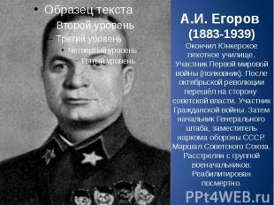 А.И. Егоров (1883-1939) Окончил Юнкерское пехотное училище. Участник Первой миро