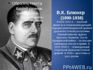 В.К. Блюхер (1890-1938) В1920-1922 гг. – военный министр и главнокомандующий Нар