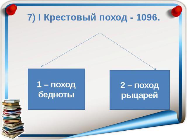 7) Ι Крестовый поход - 1096.