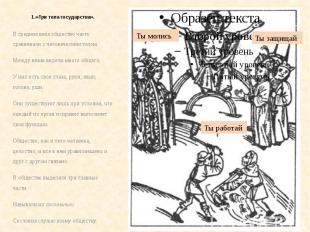 1.«Три тела государства». В средние века общество часто сравнивали с человечески