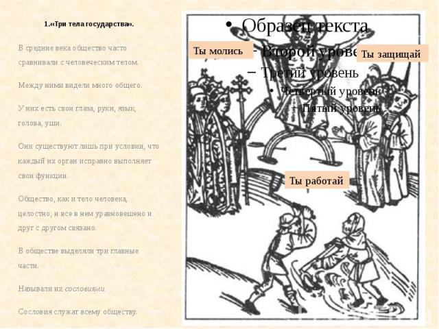 1.«Три тела государства». В средние века общество часто сравнивали с человеческим телом. Между ними видели много общего. У них есть свои глаза, руки, язык, голова, уши. Они существуют лишь при условии, что каждый их орган исправно выполняет свои фун…