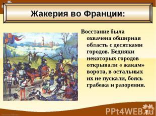 Восстание была охвачена обширная область с десятками городов. Бедняки некоторых