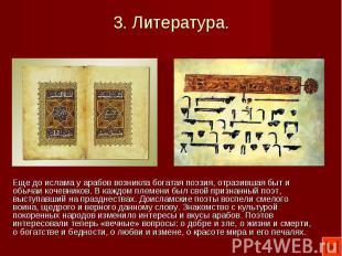 Еще до ислама у арабов возникла богатая поэзия, отразившая быт и обычаи кочевник