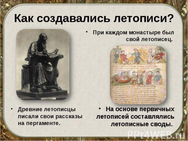 Как создавались летописи? Древние летописцы писали свои рассказы на пергаменте.