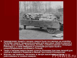 Умерщвление людей в лагерях смерти было поставлено на конвейер. Лагерями смерти,