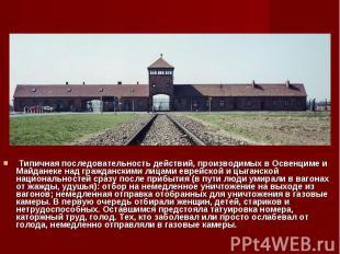 Типичная последовательность действий, производимых в Освенциме и Майданеке над г