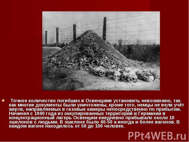 Точное количество погибших в Освенциме установить невозможно, так как многие документы были уничтожены, кроме того, немцы не вели учёт жертв, направляемых в газовые камеры непосредственно по прибытии. Начиная с 1940 года из оккупированных территорий…