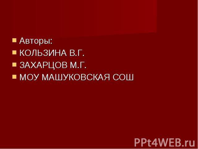Авторы: Авторы: КОЛЬЗИНА В.Г. ЗАХАРЦОВ М.Г. МОУ МАШУКОВСКАЯ СОШ