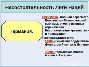 1933-1935гг.-полный пересмотр Версальско-Вашингтонской системы, отмена военных о