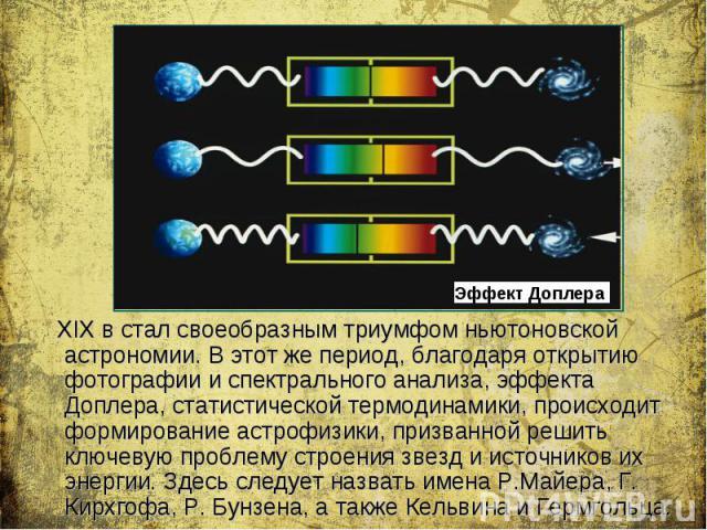 XIX в стал своеобразным триумфом ньютоновской астрономии. В этот же период, благодаря открытию фотографии и спектрального анализа, эффекта Доплера, статистической термодинамики, происходит формирование астрофизики, призванной решить ключевую проблем…