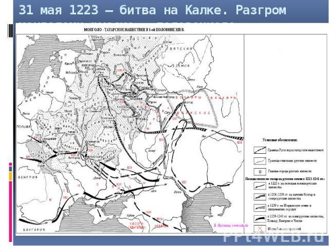 31 мая 1223 – битва на Калке. Разгром монголами русско – половецкого войска.