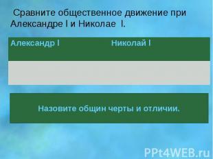 Сравните общественное движение при Александре l и Николае l.