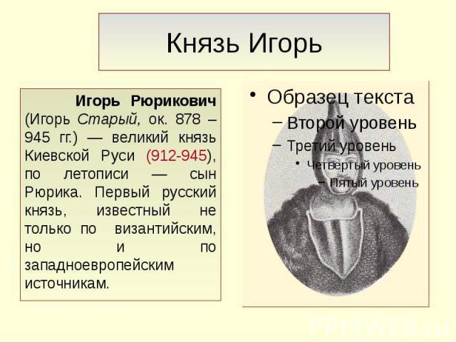 Князь Игорь Игорь Рюрикович (Игорь Старый, ок. 878 – 945 гг.) — великий князь Киевской Руси (912-945), по летописи — сын Рюрика. Первый русский князь, известный не только по византийским, но и по западноевропейским источникам.