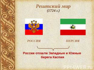 Рештский мир (1724 г.) РОССИЯ ПЕРСИЯ России отошли Западные и Южные берега Каспи