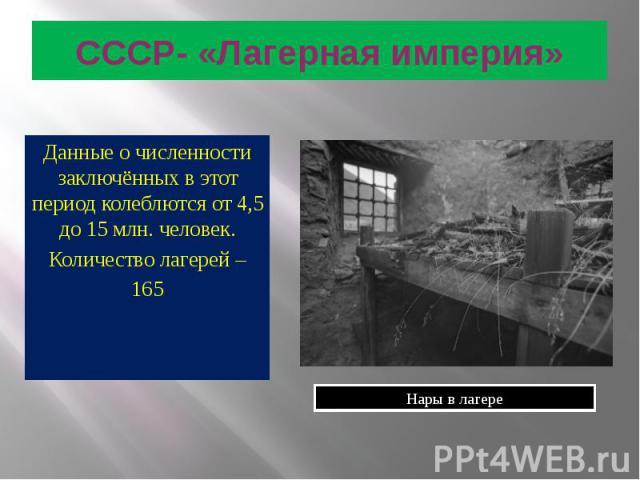 СССР- «Лагерная империя» Данные о численности заключённых в этот период колеблются от 4,5 до 15 млн. человек. Количество лагерей – 165