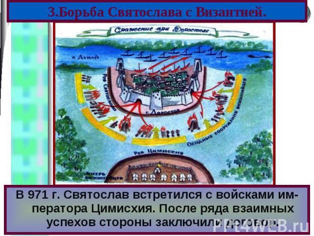 В 971 г. Святослав встретился с войсками им-ператора Цимисхия. После ряда взаимных успехов стороны заключили договор. В 971 г. Святослав встретился с войсками им-ператора Цимисхия. После ряда взаимных успехов стороны заключили договор.