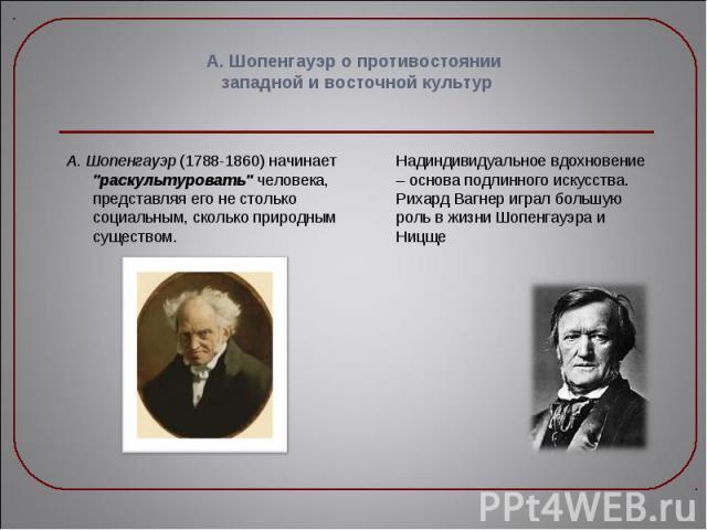 """А. Шопенгауэр (1788-1860) начинает """"раскультуровать"""" человека, представляя его не столько социальным, сколько природным существом. А. Шопенгауэр (1788-1860) начинает """"раскультуровать"""" человека, представляя его не столько социальн…"""