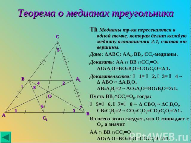 Th Медианы тр-ка пересекаются в одной точке, которая делит каждую медиану в отношении 2:1, считая от вершины. Th Медианы тр-ка пересекаются в одной точке, которая делит каждую медиану в отношении 2:1, считая от вершины. Дано: ΔABC; AA1, BB1, CC1-мед…