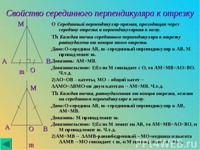 O Серединный перпендикуляр-прямая, проходящая через середину отрезка и перпендикулярная к нему. O Серединный перпендикуляр-прямая, проходящая через середину отрезка и перпендикулярная к нему. Th Каждая точка серединного перпендикуляра к отрезку равн…