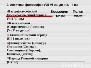 2. Античная философия (VII-VI вв. до н.э. – I в.)
