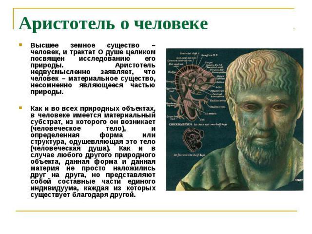Аристотель о человеке Высшее земное существо – человек, и трактат О душе целиком посвящен исследованию его природы. Аристотель недвусмысленно заявляет, что человек – материальное существо, несомненно являющееся частью природы. Как и во всех природны…