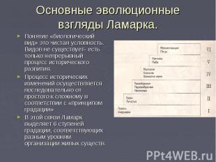 Основные эволюционные взгляды Ламарка. Понятие «биологический вид» это чистая ус