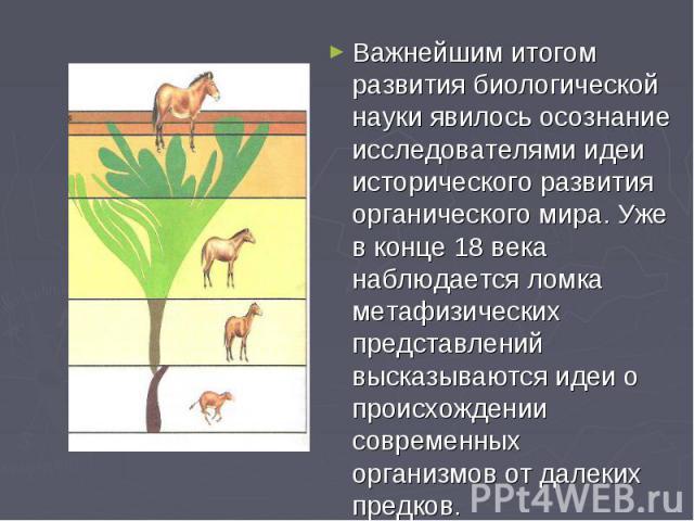 Важнейшим итогом развития биологической науки явилось осознание исследователями идеи исторического развития органического мира. Уже в конце 18 века наблюдается ломка метафизических представлений высказываются идеи о происхождении современных организ…