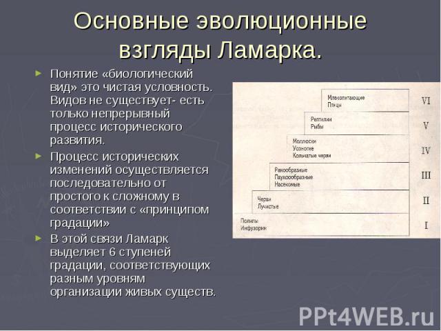 Основные эволюционные взгляды Ламарка. Понятие «биологический вид» это чистая условность. Видов не существует- есть только непрерывный процесс исторического развития. Процесс исторических изменений осуществляется последовательно от простого к сложно…