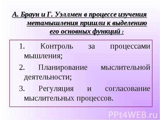 1. Контроль за процессами мышления; 1. Контроль за процессами мышления; 2. Планирование мыслительной деятельности; 3. Регуляция и согласование мыслительных процессов.