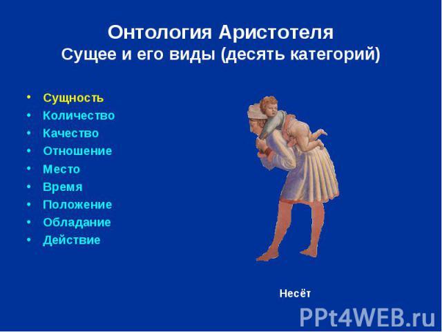 Онтология Аристотеля Сущее и его виды (десять категорий) Сущность Количество Качество Отношение Место Время Положение Обладание Действие