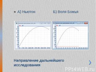 Направление дальнейшего исследования А) Ньютон Б) Воля Божья