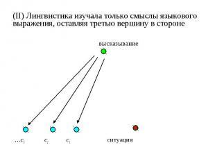 (II) Лингвистика изучала только смыслы языкового выражения, оставляя третью верш