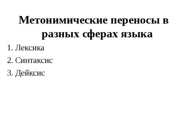 Метонимические переносы в разных сферах языка Метонимические переносы в разных сферах языка 1. Лексика 2. Синтаксис 3. Дейксис