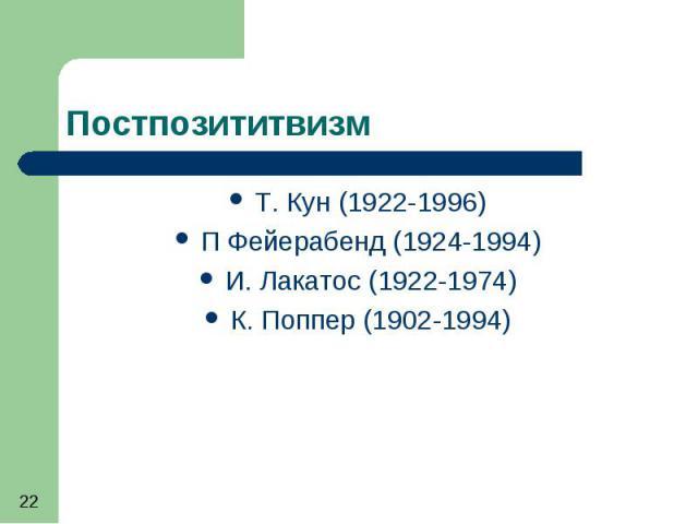 Постпозититвизм Т. Кун (1922-1996) П Фейерабенд (1924-1994) И. Лакатос (1922-1974) К. Поппер (1902-1994)