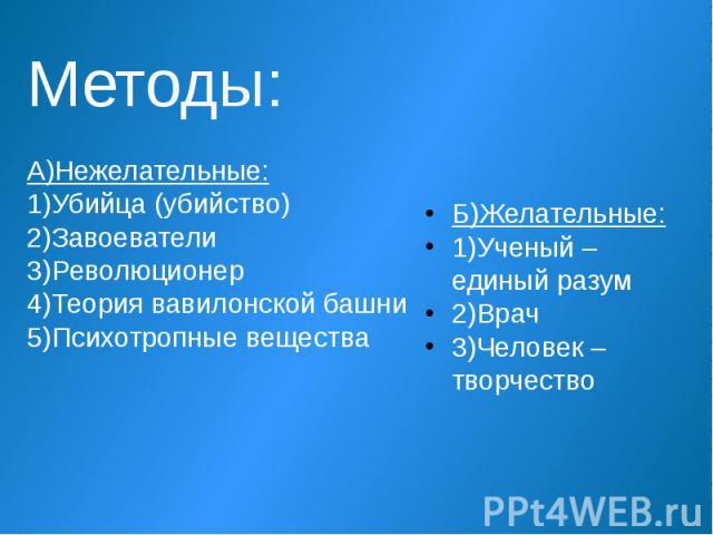 Б)Желательные: 1)Ученый – единый разум 2)Врач 3)Человек – творчество